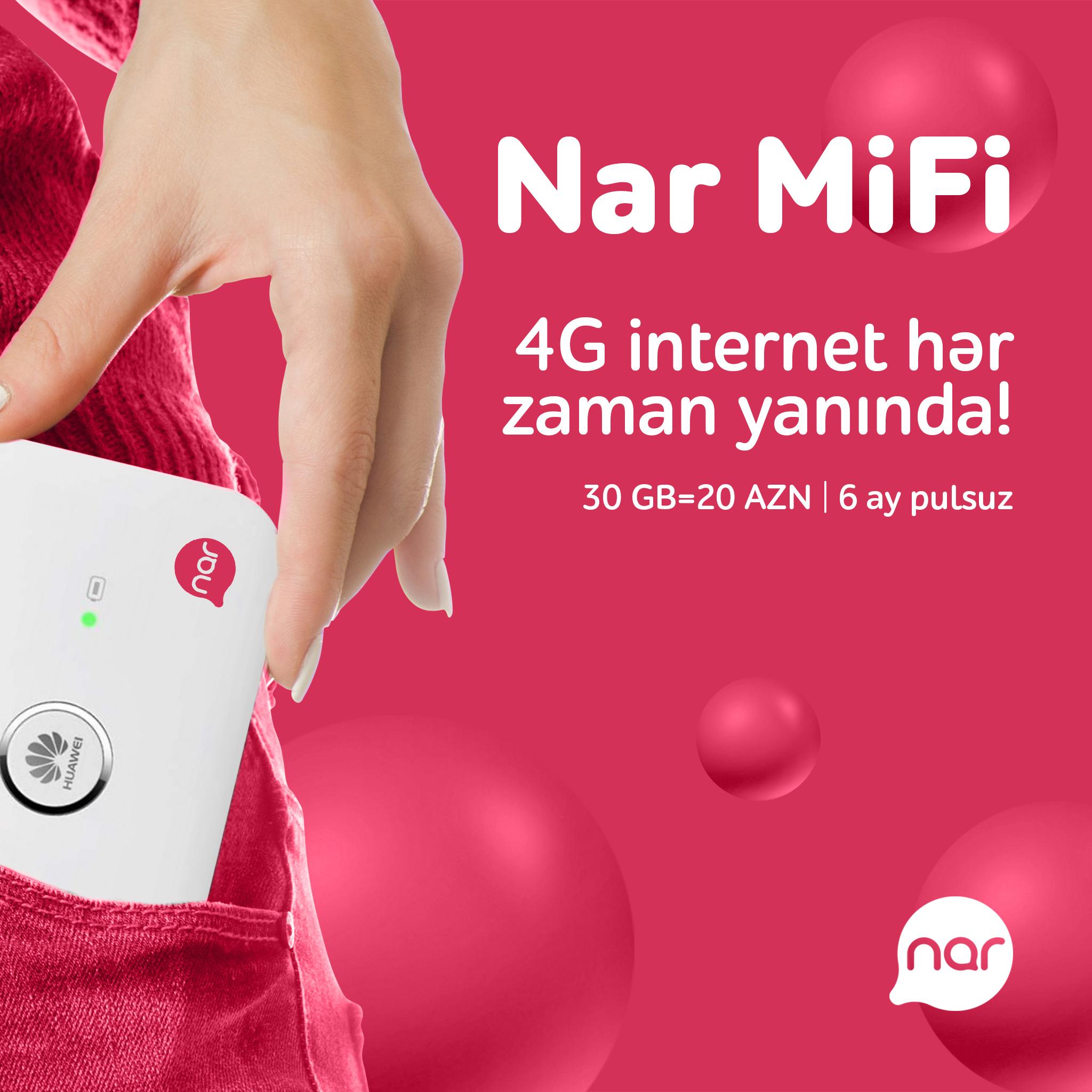 """""""Nar MiFi"""" paketini al, 6 aya qədər pulsuz internet əldə et!"""