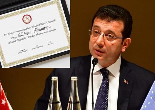 """Əkrəm İmamoğlu """"mazbata""""sını alır –"""