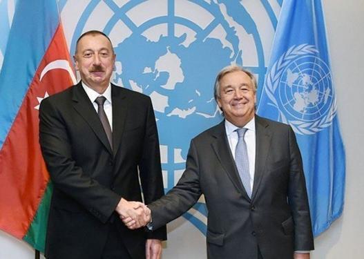 Prezident İlham Əliyev BMT-nin Baş katibi ilə danışıb